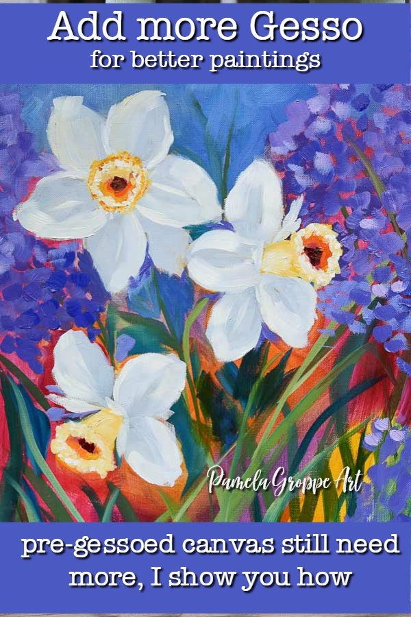 daffodils painted in oils, blue background flowers, pamela groppe art