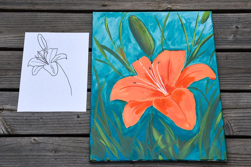 Painting pattern next to large painting of an orange lily, Pamela Groppe Art