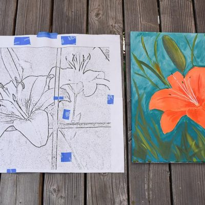Lily Painting pattern next to painting of an Orange Lily